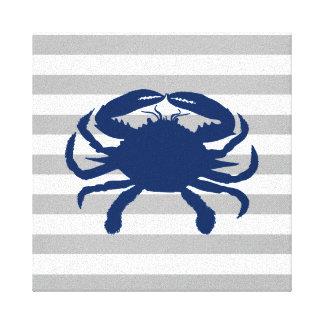 Marine-blaue Krabben-graue und weiße Streifen Leinwanddruck