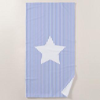 Marine-blaue Streifen u. Weiß-Stern-Badetuch Strandtuch
