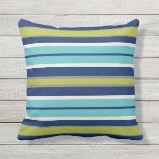 Marine-blaues Grün-und Grau-Streifen | Kissen