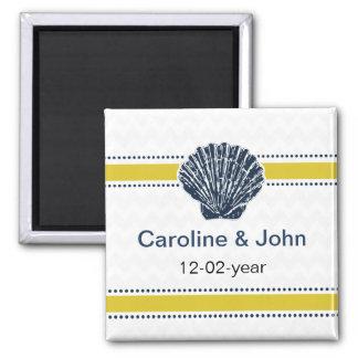 Marine-Blauund Gelbseashell-Hochzeits-Briefpapier Quadratischer Magnet