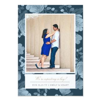 Marine-Blumenschwangerschafts-Mitteilung 12,7 X 17,8 Cm Einladungskarte