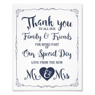 Marine danken Ihnen Hochzeitszeichen Fotodruck