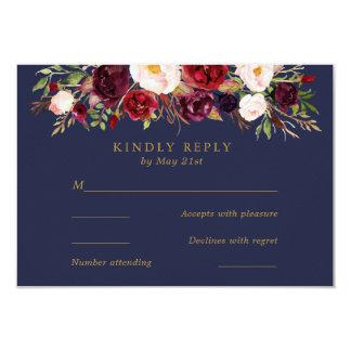 Marine Marsala Blumen, die UAWG Karte Wedding sind