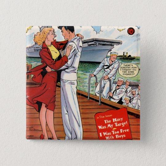 Marine Romance Quadratischer Button 5,1 Cm