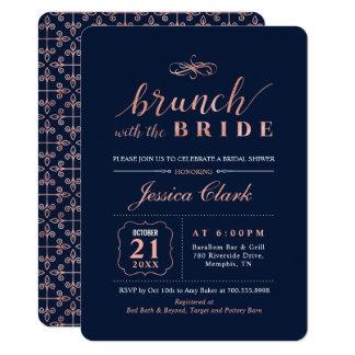 Marine-Rosen-Gold, das Brautbrunch-Einladung Karte