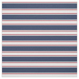 Marine, Rot und Creme-Sommer-Streifen Stoff