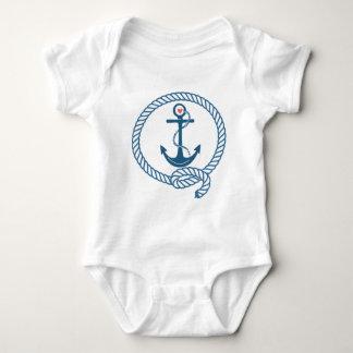 Marine-Schiffs-Anker mit rosa Herzen Baby Strampler
