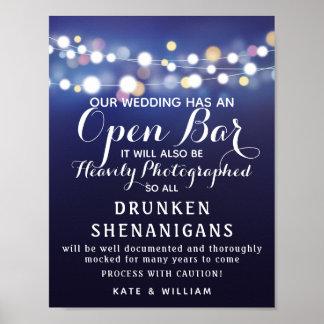 Marine-Schnur der Lichter öffnen das Bar, das Poster