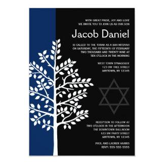 Marine-schwarzer Baum von Leben-Bar Mitzvah 12,7 X 17,8 Cm Einladungskarte
