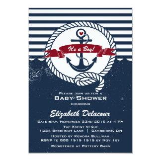 Marine u. rote rustikale SeeBabyparty-Einladung 12,7 X 17,8 Cm Einladungskarte