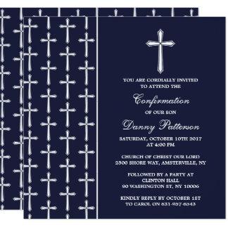 Marine u. weiße quere heilige Kommunion oder Quadratische 13,3 Cm Einladungskarte