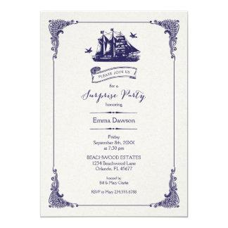 Marine-und Elfenbein-Vintages 12,7 X 17,8 Cm Einladungskarte