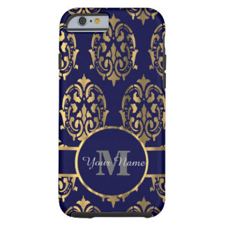 Marine- und Golddamastmonogramm Tough iPhone 6 Hülle