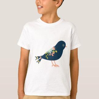 Marine und korallenroter Boho Stammes- Vogel T-Shirt