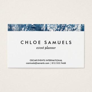 Marine und weißer Denim-Damast-Shabby Chic-Druck Visitenkarte
