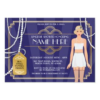 Marine-Wäsche-Brautpartyzwanziger jahre Perlen 12,7 X 17,8 Cm Einladungskarte