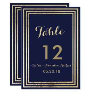 Marineblau-Imitatgoldelegante moderne Tischnummer Karte