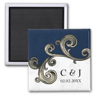 Marineblau Monogramm das Save the Date Magneten
