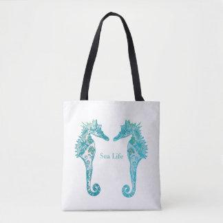Marineblau-Seepferde Seelebenkunst, die Tasche
