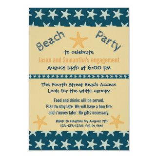 Marinestarfish-Strand - Party der Verlobungs-3x5 8,9 X 12,7 Cm Einladungskarte
