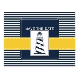 Marinestreifen, Leuchtturm, nautisch Save the Date Postkarten
