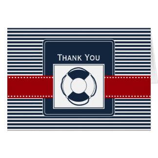 Marinestreifen, lifebuoy, Seehochzeit danken Ihnen Grußkarte