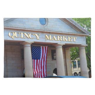 Markt-Bus-Ausflugansichten BOSTON-Stadt-QUENCY Stofftischset