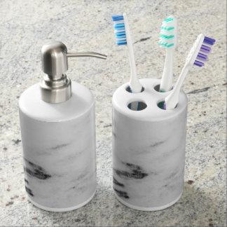 Marmorzahnbürste-Halter und Seifen-Zufuhr Seifenspender & Zahnbürstenhalter