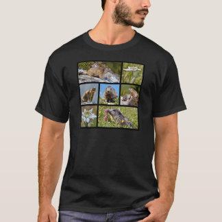 Marmottes et edelweiss alpins de mosaïque de t-shirt