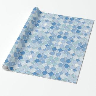 Marokkaner Quatrefoil blauer azurblauer Cerulean Einpackpapier