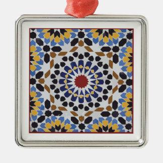 Marokkanische Fliese Quadratisches Silberfarbenes Ornament