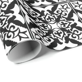Marokkanische Fliese - Schwarzes mit weißem Geschenkpapier