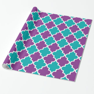 Marokkanische Muster - Türkis u. Veilchen Geschenkpapier