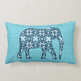 Marokkanischer Fliesen-Elefant, Kobalt, Marine u. Lendenkissen