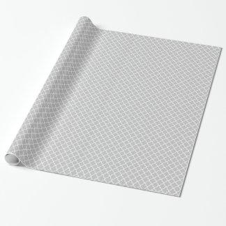Marokkanisches graues Weiß Quatrefoil Muster Geschenkpapier