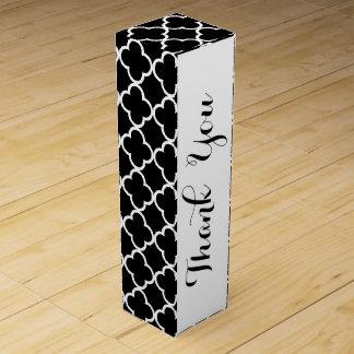 Marokkanisches Schwarz-weißes Quatrefoil Muster Wein-Geschenkverpackung
