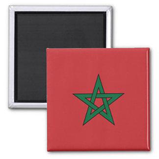 Marokko-Flaggen-Magnet Quadratischer Magnet