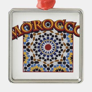 Marokko-Fliese Quadratisches Silberfarbenes Ornament