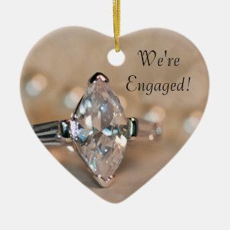 Marquis-Diamant-Ring-Verlobung Keramik Herz-Ornament