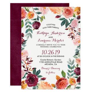 Marsala erröten rosa botanische 12,7 x 17,8 cm einladungskarte