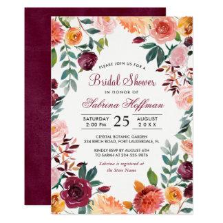 Marsala erröten rosa Watercolor-Blumen-Brautparty 12,7 X 17,8 Cm Einladungskarte