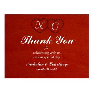 Marsala hochrote Herzen danken Ihnen zu kardieren Postkarte