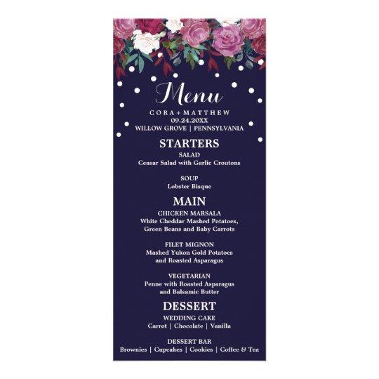 Marsala und Burgunder mit Blumen auf Werbekarte
