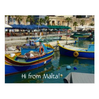 Marsaxlokk malte Boote Postkarte