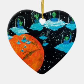 Marsmenschen sind verärgert keramik Herz-Ornament
