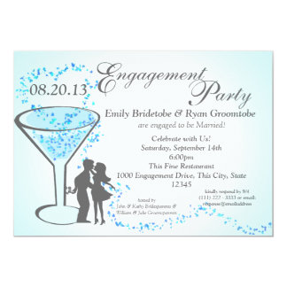 Martini-Herz-Verlobung 12,7 X 17,8 Cm Einladungskarte