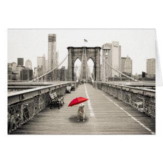 Marty Maus auf der Brooklyn-Brücken-Gruß-Karte Karte