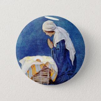 Mary-Beten und Baby Jesus Runder Button 5,1 Cm
