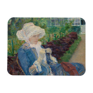 Mary Cassat- Lydia, der im Garten häkelt Flexible Magnete