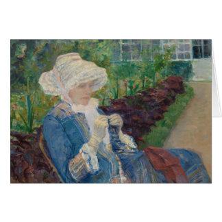 Mary Cassat- Lydia, der im Garten häkelt Grußkarte